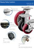 Ruedas rojas del eslabón giratorio de la PU 5inch del bloqueo resistente de la pisada