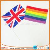 Evento deportivo bandera de la mano de papel promocionales
