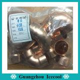 La refrigeración parte las guarniciones de cobre de cobre de la guarnición 19m m codo de 90 grados