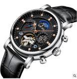 Vigilância de aço inoxidável em pele genuína de relógios mecânicos chaparia IP relógios de alta qualidade
