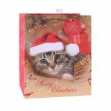 Lindo Gato Navidad bolsa de papel, bolsa de papel de regalo, manejar bolsa de papel