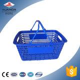 Panier en plastique de traitement d'achats de double supermarché de traitement