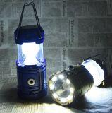 Nachladbares kampierendes Solarlicht des Fabrik-Großverkauf-1W+8LED und LED-Taschenlampe