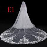 卸売3.5mのレースによってアップリケをつけられる長いベールの柔らかいテュルの花嫁のベール