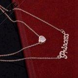 Catena a più strati di vendita superiore di modo della collana placcata oro di cristallo del diamante 18K per le donne