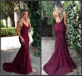 Vestito da sera nuziale del partito Backless viola del vino dell'abito di promenade del merletto Ld15266
