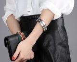 Neues feines Schmucksache-Farben-Entwurfs-Muster-Silber-Goldöffnungs-Armband-Armband für Frauen-Edelstahl-Armband-Schmucksache-Geschenke