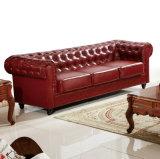 Bestes Qualitätsfabrik-Großhandelspreis-Chesterfield-echtes Leder-Sofa (633)