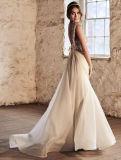 Шифоновая Bridal V-Шея шкафута империи мантий венчания отбортовывает платья венчания Vg3792 пляжа