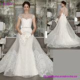Платье венчания оболочки Neckline lhbim с Organza над платьем