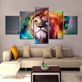 Los cuadros de la pared de la pintura del león para la sala de estar 5 juntan las piezas de los carteles animales e imprimen el arte casero de la lona de la decoración