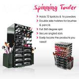 De spinnende AcrylDoos van de Opslag van de Schoonheidsmiddelen van de Organisator van de Toren van de Lippenstift Zwarte