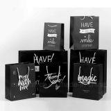 La impresión de logotipo de la Laminación brillante negro de alta calidad bolsa de papel para ir de compras
