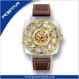 Esfera esqueleto característica mecánica Sport reloj de pulsera de los hombres de la zona horaria