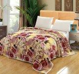 Couverture d'ouatine de flanelle estampée par fleur molle superbe, literie d'ouatine de flanelle