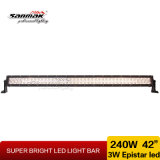 42inch 240W 4X4 campo a través se doblan barra ligera de la fila LED
