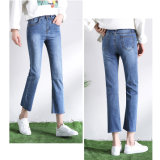 Special Legging Opening (HDLJ0045-18)를 가진 높은 Quality 빛 파란 Lady Jeans