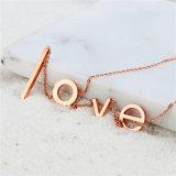 Carta de amor grossista jóias Rose Gold Colar Pendente de Aço Inoxidável