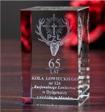 De Klok van de Kubus van het kristal met 3D Laser Engraing voor de Decoratie van het Kristal