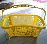 江蘇中国のハンドルが付いているプラスチックスーパーマーケットの買物かご