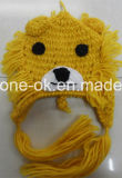 Шлемы связанные рукой, шлем льва вязания крючком, животный шлем зимы Earflap