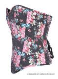 Una tapa mas pechugona del dril de algodón de la vendimia de las mujeres de la cintura del amaestrador del corsé floral de Overbust