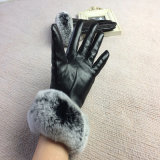 Women′ Rexのウサギの毛皮/黒い手袋が付いているSのヒツジの皮手袋