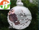 10cm de Bal van het Glas van Kerstmis met Uil Decoratief voor van het LEIDENE van Kerstmis het Licht Glas van Kerstmis