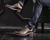 Pattini di cuoio genuini dagli uomini di vestito dei pattini del punto degli uomini convenzionali della punta
