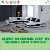 Sofa de cuir de modèle moderne de meubles de salle de séjour avec des éclairages LED