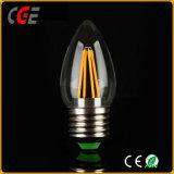 2W 4W C35 E27 금 또는 은 필라멘트 LED 전구