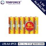 trockene alkalische hauptsächlichbatterie 1.5volt mit Ce/ISO 6PCS/Pack (LR6/AM-3/AA)