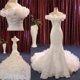 Sereia gama alta do plissado fora do trem longo nupcial do vestido de casamento do ombro