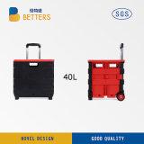 Carro de compra plástico Foldable pequeno com dois rodas e punhos