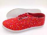 Hotsaleの女性のレースのズック靴の余暇の平らな靴(FPY818-12)