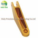 Части CNC алюминия рукоятки разъема подвергая механической обработке с анодировать золота