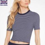 Manches courtes femmes Crew Neck Rayures Sexy Pullover tricoté recadrée pull-over Slim Fit de vêtements mode pour dames