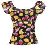 Vintage Retro Senhoras off Flamingo impresso blusa vestidos de ombro