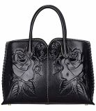 PUの革は浮彫りにするHandbag Ladies Handbags Designer花の女性ハンドバッグの方法袋(WDL01488)を