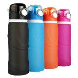 Portable pieghevole della bottiglia di acqua di sport della bottiglia di acqua del silicone su ordinazione 1L