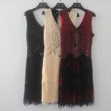 Heißer Stutzen-bördelten Backless Troddel-KleidSequins des Art-Doppelt-V reizvolles Abend-Kleid