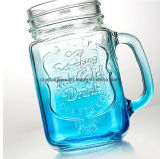 16oz Copo de vidro de boca larga potável Mason Jar com pega