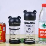 Design personalizado de vidro sem BPA garrafa de água com tampa de urso