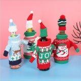 Mesa de jantar de Natal um ornamento de casacos de Conjunto de tampa de garrafas de vinho