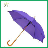 Promotie Gegraveerd Embleem op de Houten Regen van de Paraplu van de Wandelstok van het Handvat van de Paraplu Goedkope