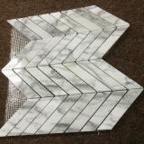 Azulejo de mosaico de Venato Carrara, azulejo de suelo de mármol Herringbone