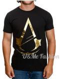 T-shirt fait sur commande de Mens de noir de logo de vêtement à extrémité élevé de modèle de mode