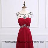 Burgunder bördelte lang reizvolle Abend-Kleid-elegante Abschlussball-Kleider