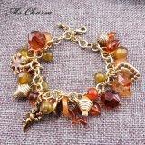 Bracelets Cinq-Aigus de charme de flocon de neige d'étoile de coeur acrylique de cupidon plaqués par or