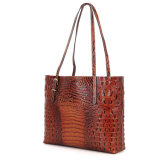 2017 Fashion Luxury Brown Croc Imprimir Leather Senhoras Ombro saco de mão